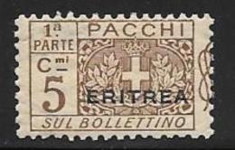 Eritrea, Scott # Q9 Part 1 MNH Italy Parcel Post Stamp Overprinted, 1917 - Eritrea