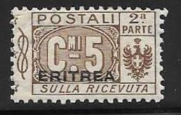Eritrea, Scott # Q9 Part 2 Mint Hinged Italy Parcel Post Stamp Overprinted, 1917 - Eritrea