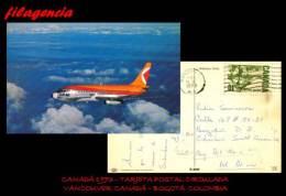 AMERICA. CANADÁ. ENTEROS POSTALES. TARJETA POSTAL CIRCULADA 1973. VANCOUVER. CANADÁ-BOGOTÁ. COLOMBIA - 1952-.... Regering Van Elizabeth II