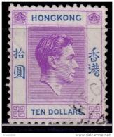 Hong Kong 1938, KGVI, Ten Dollars $10. Scott# 166A, Used - Gebraucht