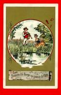 Chromo Sans Publicité Lith. Vieillemard, Fables La Fontaine, Les Poissons & Le Berger Qui Joue De La Flûte - Louit