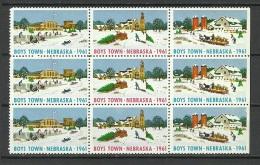 USA Charity 1961 Boys Town Nebraska Christmas 9-block MNH - Kerstmis