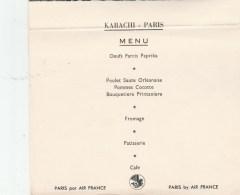 MENU AIR FRANCE KARACHI PARIS                                                 TDA138 - Menus