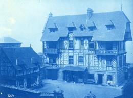 France Normandie Maison Neuve A Colombages Ancienne Photo Cyanotype 1895 - Photographs