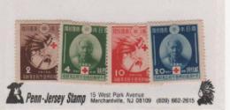 JAPON  - 1936 - YVERT N°291/294 - HINGED / CHARNIERE - 75e Anniversaire De L'entrée Du Japon Dans L'Union De La Croix Ro