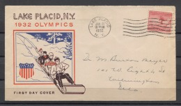 USA Olympics Olympic Jeux Olympiques 1932 FDC ( 1-1 ) - Winter 1932: Lake Placid