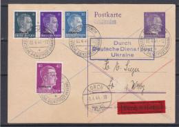 Allemagne- Empire - Ukraine - Carte Postale Exprès Recom De 1944 - Oblitération Brest Litowsk - Expédié Vers Lorch - - Occupation 1938-45