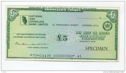 "Grande-Bretagne Great Britain 5 Pounds """"CHEQUE De VOYAGE "" UNC TRAVELLERS CHEQUE """" SPECIMEN National GRINDLAYS Bank - Gran Bretagna"