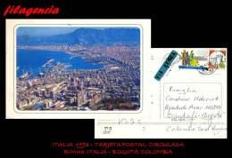 EUROPA. ITALIA. ENTEROS POSTALES. TARJETA POSTAL CIRCULADA 1993. RIMINI. ITALIA-BOGOTÁ. COLOMBIA. CASTILLOS - 6. 1946-.. Republik