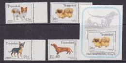 TYranskei 1993 Dogs 4v + M/s ** Mnh (32154) - Transkei