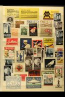 """PHILATELIC EXHIBITION LABEL COLLECTION 1890's - 1960's. A Mammoth & Impressive Collection Of Fascinating """"old... - Stamps"""