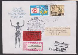 Dresden Hygienemuseum Gesundheit Rotes Kreuz, R-und Eil-Sendung, Rs. Eing.-Stempel Beeskow, Gläserner Mensch - Cartas