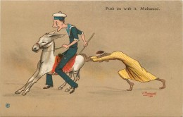 ÂNE ET MARIN - Push On With It ,Mohamed, Carte Illustrée Par V.Manavian En 1916. - Anes
