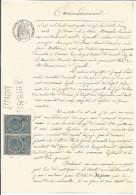 FISCAUX SUR PAPIER FILIGRANE PAPIER TIMBRE FRANCE 1886 - Revenue Stamps