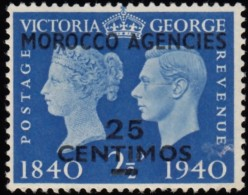 GREAT BRITAIN OFFICE IN MOROCCO - Scott #92 King George VI & Queen Elizabeth 'Surcharged' / Mint H Stamp - Morocco Agencies / Tangier (...-1958)
