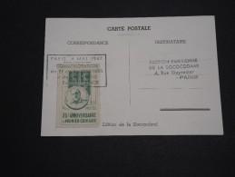 FRANCE - Vignette Du 25 ème Anniversaire Du Coin Daté Sur Carte Postale En 1947 - A Voir - L 2506 - Erinnophilie