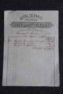 Facture Ancienne - MURCIA - HOTEL DE PARIS, José LOPEZ PELEGRIN, Calle De Jabonerias - Spagna
