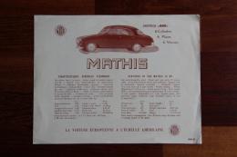 Dépliant Publicitaire Automobile , MATHIS 666, 6 Cylindres. - Publicités