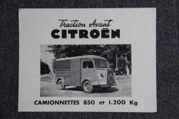 Dépliant Publicitaire Automobile , Traction Avant CITROEN - Pubblicitari