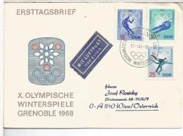 ALEMANIA DDR BERLIN FDC DEPORTES INVIERNO JUEGOS OLIMPICOS GRENOBLE 1968 ESQUI SKI - Winter 1968: Grenoble