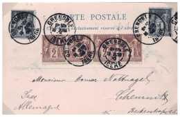 CARTE DE GRENOBLE AVEC TYPE SAGE EN COMPOSITION  ADRESSEE EN ALLEMAGNE   FRANCE COVER - Marcophilie (Lettres)