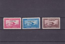 # 186  PLANE, AIRMAIL, 1930, Mi 372-374, MNH**, OVERPRINT, ORIZONTAL WATERMARK, FULL SET , ROMANIA - Neufs