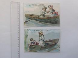 CHROMO Grand Format PYGMALION: Lot De 2 Même Série - Fillette Barque Jeu D'enfant Demoiselle Garçonnet - Chromos