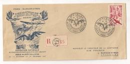 RECOMMANDE 1947 PARIS A BUENOS AIRES LES AILES BRISEES / 2 VIGNETTES ERINNOPHILIE ADER LIEUTENANT COLONEL DAGNAUX CPA513 - Marcophilie (Lettres)