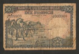 BANQUE Du CONGO BELGE - LEOPOLD III - 10 Francs (1944) - [ 5] Belgian Congo