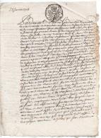 1708 - Document Avec Cachet Généralité De Paris - Petit Papier Taxe 1 Sol Et 4 Deniers La Feuille - Seals Of Generality
