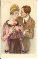 CPA Illustration Couple Avec Femme à La Rose  11611 - Bompard, S.