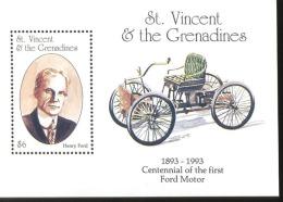 ST.VINCENT 1853   FORD MINT NEVER HINGED SOUVENIR SHEET OF CARS - Autos