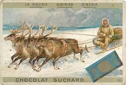 Chromo Chocolat Suchard - N° 10 - La Sibérie Sibirien Siberia Traineau De Cerfs - Suchard