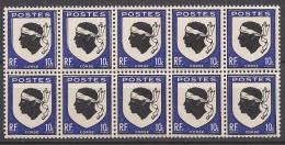 FRANCE 1946 - BLOC DE 10 Y.T. N° 755  - NEUFS** - Neufs