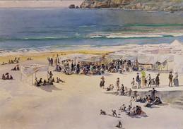 NAZARÉ, Praia Da Nazaré, Aguarela, De ROQUE GAMEIRO  (Ed. Da Camara Municipal Do Porto), 2 Sans, PORTUGAL - Leiria
