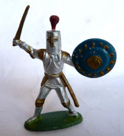 Figurine CYRNOS MOYEN AGE MA09 CHEVALIER BRANDISSANT EPEE ECU TÊTE DE CHEVAL BLEU ET OR 50's Pas Starlux Clairet - Starlux
