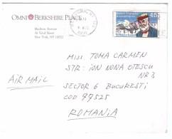 STORIA POSTALE - USA - OMNI BERKSHIRE PLACE - NEW OYRK - ANNO 1990 - PER TOMA CARMEN - ROMANIA - - America Centrale