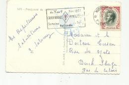 """MONACO  :  Flamme """" Semaire Nationale De La Croix-Rouge """" De 1958 Sur Carte Postale - Marcophilie - EMA (Empreintes Machines)"""