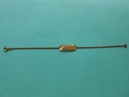 Bracelet Plaqué -   Plaque Identité  Claudine  - 17  Cms - - Bracelets