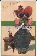 57419 ART ARTE EMBOSSED WOMAN BLACK WITH A HAT AND UMBRELLA POSTAL POSTCARD - Illustratoren & Fotografen