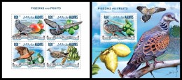 MALDIVES 2014 - Pigeons & Fruits - YT 4529-32 + BF730; CV = 26 € - Oiseaux