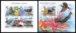 MALDIVES 2014 - Water Birds & Corals - YT 4537-40 + BF732; CV = 26 € - Vogels