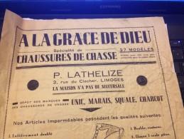 A LA GRACE DE DIEU,  2 Rue Du Clocher Limoges, 1934, Publicité - Publicités