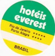 BRASIL RIO DE JANEIRO HOTEL EVEREST VINTAGE LUGGAGE LABEL - Etiketten Van Hotels