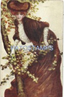 57451 ART ARTE SIGNED MARY M. WOMAN BEAUTY WITH A HAT IN TREE CIRCULATED TO ARGETINA POSTAL POSTCARD - Künstlerkarten