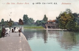 AM83 The Lake, Radnor Park, Folkestone - Children, Lady With Pram, Pu 1905 - Folkestone