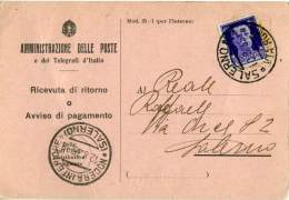 COMUNE DI SALERNO  Amministrazione Delle Poste E Telegrafi  Ricevuta Di Ritorno Per Nocera Inferiore  1935  50c - Storia Postale