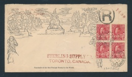 Canada #MR5 Cvr 1917 Cover With War Tax Block Of Four, On A Facsimile Mulready Envelope. Sent... - Unclassified