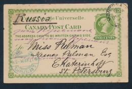 Canada #UX4 Cvr 1893 2c Green Postal Card To Russia, Card Mailed At Montreal 14 Dec 94, Then... - 1851-1902 Reign Of Victoria