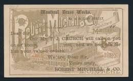 Canada #P9 Cvr 1891 Unused 1c Canada Postal Card - Of Montreal Brass Works, Robert Mitchell &... - 1851-1902 Reign Of Victoria